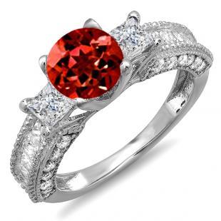 3.15 Carat (ctw) 14k White Gold Round Red Garnet & Princess White Diamond Ladies 3 Stone Engagement Bridal Ring