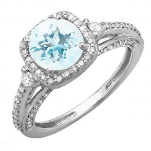 2.10 Carat (ctw) 14k White Gold Round Aquamarine & White Diamond Ladies Engagement Halo Bridal Ring