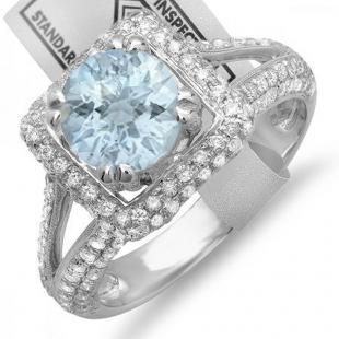 2.50 Carat (ctw) 18K White Gold Round Aquamarine & White Diamond Halo Style Engagement Bridal Ring