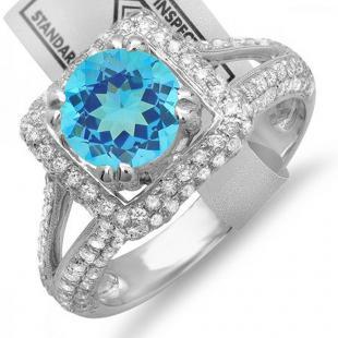 2.50 Carat (ctw) 18K White Gold Round Blue Topaz & White Diamond Halo Style Engagement Bridal Ring