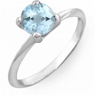 1.00 Carat (ctw) 18K White Gold Round Blue Aquamarine Ladies Bridal Engagement Solitaire Ring 1 CT