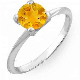 1.00 Carat (ctw) 14K White Gold Round Yellow Citrine Ladies Bridal Engagement Solitaire Ring 1 CT