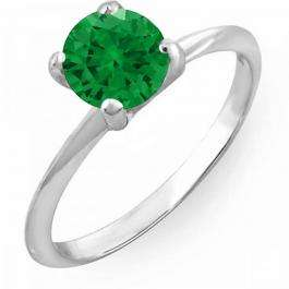 1.00 Carat (ctw) 10K White Gold Round Green Emerald Ladies Bridal Engagement Solitaire Ring 1 CT