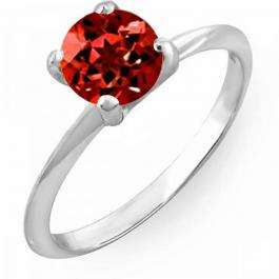 1.00 Carat (ctw) 14K White Gold Round Red Garnet Ladies Bridal Engagement Solitaire Ring 1 CT