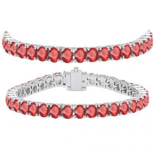 15.00 Carat (ctw) 10K White Gold Round Cut Real Ruby Ladies Tennis Bracelet 15 CT