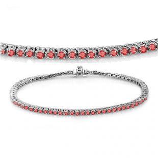 3.00 Carat (ctw) 18K White Gold Round Cut Real Ruby Ladies Tennis Bracelet 3 CT