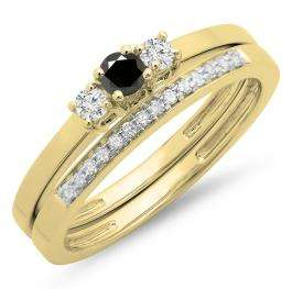 0.33 Carat (ctw) 14K Yellow Gold Round Cut White & Black Diamond Ladies Bridal Engagement 3 Stone Ring With Matching Wedding Band Set 1/3 CT