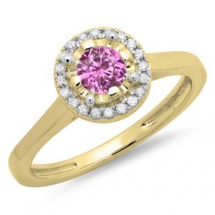 0.50 Carat (ctw) 18K Yellow Gold Round Pink Sapphire & White Diamond Ladies Bridal Halo Style Engagement Ring 1/2 CT