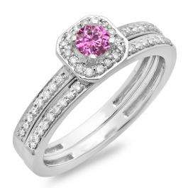 0.55 Carat (ctw) 10K White Gold Round Cut Pink Sapphire & White Diamond Ladies Halo Engagement Bridal Ring With Matching Band Set 1/2 CT