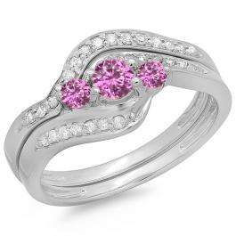 0.60 Carat (ctw) 10K White Gold Real Round Pink Sapphire & White Diamond Ladies Swirl Style Bridal 3 Stone Engagement Ring With Matching Band Set