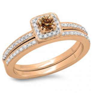 0.50 Carat (ctw) 10K Rose Gold Round Cut Champagne & White Diamond Ladies Bridal Halo Engagement Ring With Matching Band Set 1/2 CT