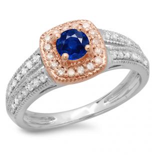 0.75 Carat (ctw) 10K Two Tone Gold Round Cut Blue Sapphire & White Diamond Ladies Split Shank Bridal Halo Engagement Ring 3/4 CT