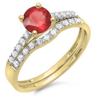 1.25 Carat (ctw) 10K Yellow Gold Round White Diamond & Red Ruby Ladies Bridal Engagement Ring Matching Band Wedding Sets 1 1/4 CT