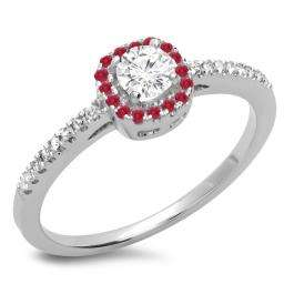 0.45 Carat (ctw) 10K White Gold Round Cut Ruby & White Diamond Ladies Halo Style Bridal Engagement Ring 1/2 CT