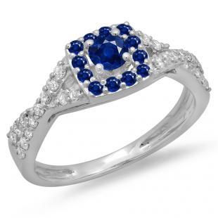 0.75 Carat (ctw) 14K White Gold Round Cut Blue Sapphire & White Diamond Ladies Bridal Swirl Split Shank Halo Engagement Ring 3/4 CT