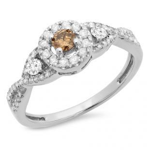 0.60 Carat (ctw) 18K White Gold Round Champagne & White Diamond Ladies 3 Stone Swirl Halo Style Vintage Bridal Engagement Ring