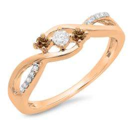 0.25 Carat (ctw) 10K Rose Gold Round Champagne & White Diamond Ladies 3 Stone Swirl Split Shank Engagement Promise Ring 1/4 CT