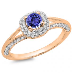 0.90 Carat (ctw) 14K Rose Gold Round Cut Tanzanite & White Diamond Ladies Bridal Split Shank Halo Style Engagement Ring