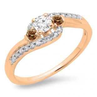 0.50 Carat (ctw) 14K Rose Gold Round Cut Champagne & White Diamond Ladies Bridal Bypass Swirl 3 Stone Engagement Ring 1/2 CT