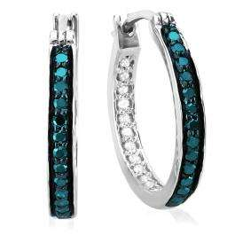 0.38 Carat (ctw) Sterling Silver Round Blue & White Diamond Fine In and Out Hoop Earrings 3/8 CT