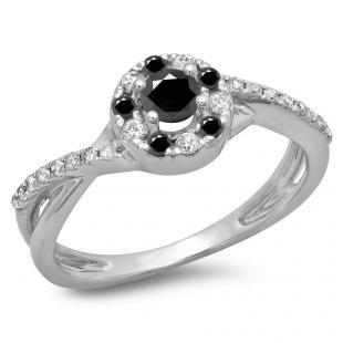 0.50 Carat (ctw) 18K White Gold Round Cut Black & White Diamond Ladies Swirl Split Shank Bridal Halo Engagement Ring 1/2 CT