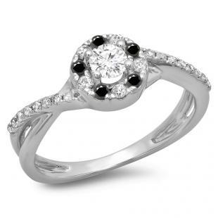 0.50 Carat (ctw) 10K White Gold Round Cut Black & White Diamond Ladies Swirl Split Shank Bridal Halo Engagement Ring 1/2 CT