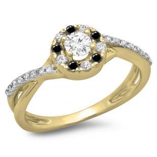 0.50 Carat (ctw) 14K Yellow Gold Round Cut Black & White Diamond Ladies Swirl Split Shank Bridal Halo Engagement Ring 1/2 CT