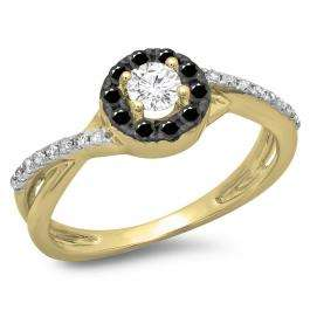 0.50 Carat (ctw) 18K Yellow Gold Round Cut Black & White Diamond Ladies Swirl Split Shank Bridal Halo Engagement Ring 1/2 CT