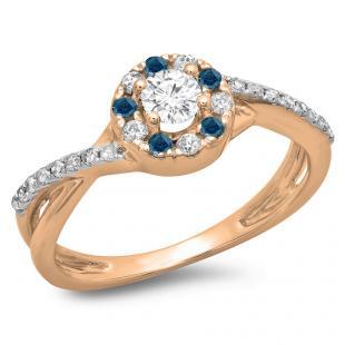 0.50 Carat (ctw) 10K Rose Gold Round Cut Blue & White Diamond Ladies Swirl Split Shank Bridal Halo Engagement Ring 1/2 CT