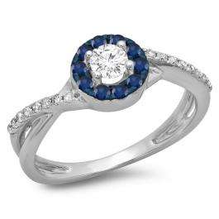 0.50 Carat (ctw) 10K White Gold Round Cut Blue Sapphire & White Diamond Ladies Swirl Split Shank Bridal Halo Engagement Ring 1/2 CT