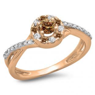 0.50 Carat (ctw) 18K Rose Gold Round Cut Champagne & White Diamond Ladies Swirl Split Shank Bridal Halo Engagement Ring 1/2 CT