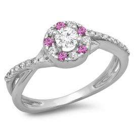 0.50 Carat (ctw) 10K White Gold Round Cut Pink Sapphire & White Diamond Ladies Swirl Split Shank Bridal Halo Engagement Ring 1/2 CT