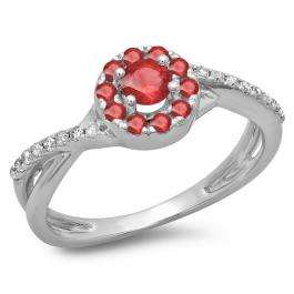 0.50 Carat (ctw) 10K White Gold Round Cut Ruby & White Diamond Ladies Swirl Split Shank Bridal Halo Engagement Ring 1/2 CT