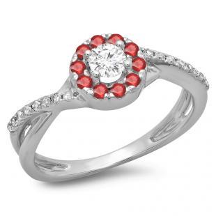 0.50 Carat (ctw) 14K White Gold Round Cut Ruby & White Diamond Ladies Swirl Split Shank Bridal Halo Engagement Ring 1/2 CT