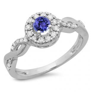 0.55 Carat (ctw) 18K White Gold Round Cut Tanzanite & White Diamond Ladies Swirl Bridal Halo Engagement Ring 1/2 CT