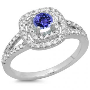 0.80 Carat (ctw) 14K White Gold Round Tanzanite & White Diamond Ladies Split Shank Engagement Halo Bridal Ring 3/4 CT