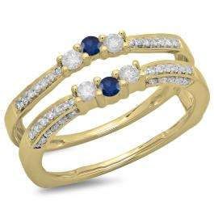 0.50 Carat (ctw) 18K Yellow Gold Round Cut Blue Sapphire & White Diamond Ladies Anniversary Wedding Band Enhancer Guard Double Ring 1/2 CT