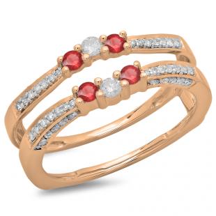 0.50 Carat (ctw) 10K Rose Gold Round Cut Ruby & White Diamond Ladies Anniversary Wedding Band Enhancer Guard Double Ring 1/2 CT