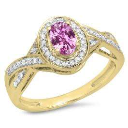 0.75 Carat (ctw) 14K Yellow Gold Oval & Round Cut Pink Sapphire & White Diamond Ladies Swirl Split Shank Bridal Halo Engagement Ring 3/4 CT