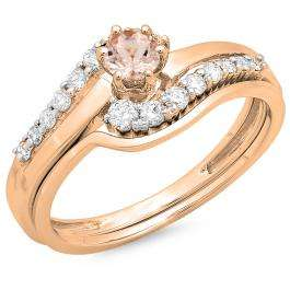 0.55 Carat (ctw) 14K Rose Gold Round Morganite & White Diamond Ladies Twisted Style Bridal Engagement Ring With Matching Band Set 1/2 CT