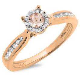 0.40 Carat (ctw) 18K Rose Gold Round Cut Morganite & White Diamond Ladies Bridal Solitaire With Accents Engagement Ring