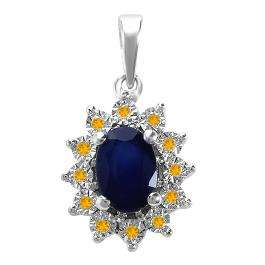 1.00 Carat (ctw) Kate Middleton Diana Replica 14K White Gold Real Round Citrine With Real Oval Blue Sapphire Ladies Pendant