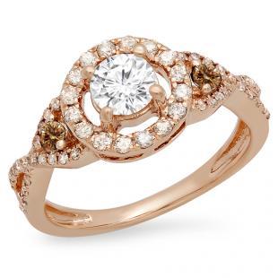 0.90 Carat (ctw) 18K Rose Gold Round Champagne & White Diamond Ladies 3 Stone Swirl Halo Vintage Bridal Engagement Ring