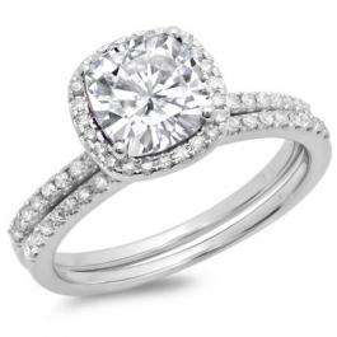 1.00 Carat (ctw) 14K White Gold Cushion Cut White Diamond & Round Cut White Diamond Ladies Bridal Halo Engagement Ring With Matching Band Set 1 3/4 CT