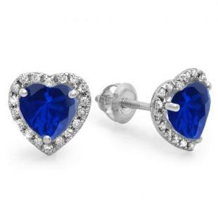2.25 Carat (ctw) 10K White Gold Heart Shape Blue Sapphire & Round Cut Diamond Ladies Halo Stud Earrings