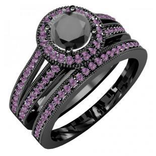 1.25 Carat (ctw) Black Rhodium Plated 14K White Gold Round Amethyst And Black Diamond Ladies Split Shank Halo Style Bridal Engagement Ring Set With Matching Band 1 1/4 CT