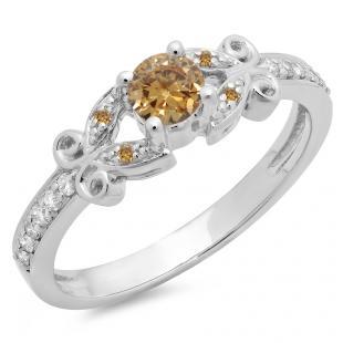 0.50 Carat (ctw) 14K White Gold Round Champagne & White Diamond Ladies Bridal Unique Vintage Style Engagement Ring 1/2 CT