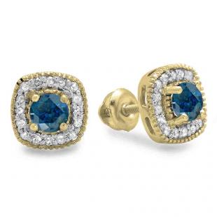 0.75 Carat (ctw) 18K Yellow Gold Round Cut Blue & White Diamond Ladies Halo Stud Earrings 3/4 CT