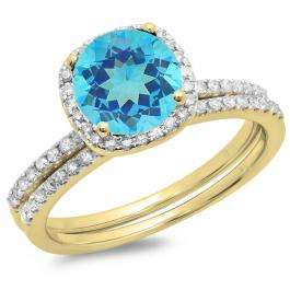 1.75 Carat (ctw) 14K Yellow Gold Round Cut Blue Topaz & White Diamond Ladies Bridal Halo Engagement Ring With Matching Band Set 1 3/4 CT