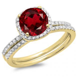 1.75 Carat (ctw) 14K Yellow Gold Round Cut Garnet & White Diamond Ladies Bridal Halo Engagement Ring With Matching Band Set 1 3/4 CT